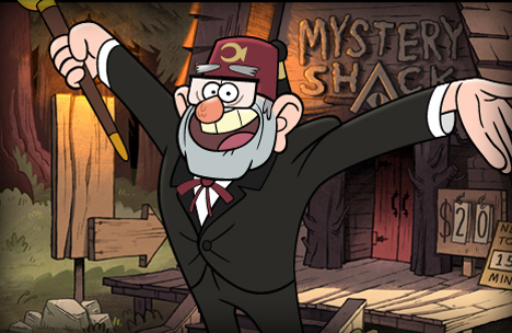 "Grunkle Stan voiced by Alex Hirsch.  ""When life gives you lemons, call them 'yellow oranges' and sell them for double the price."""